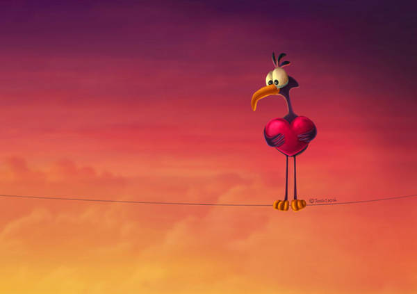 Emotional Digital Art - Only One Bird by Tooshtoosh