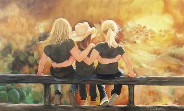 Wall Art - Painting - Only Sisters Know by Karen Kennedy Chatham