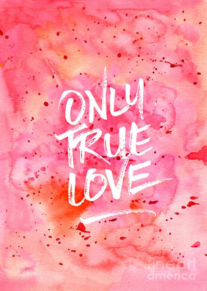 Painting - Only True Love Handpainted Abstract Watercolor Red Pink Orange by Beverly Claire Kaiya