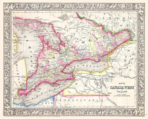 Drawing - Ontario Canada 1864 Map by Movie Poster Prints