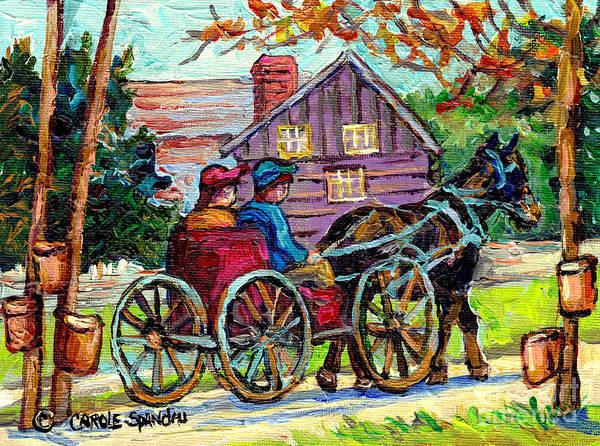 Painting - Ontario Landscape Painting Maple Tree Sugar Shack Horse And Buggy Country Scene C Spandau Fine Art by Carole Spandau