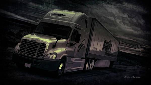 Semi-truck Digital Art - Onto The Night  by Walter Herrit