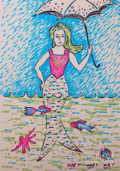 Semi Abstract Drawing - Oops Its Raining by Heather McFarlane-Watson