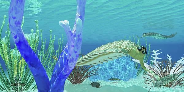 Arthropods Painting - Opabinia Eats Trilobite by Corey Ford