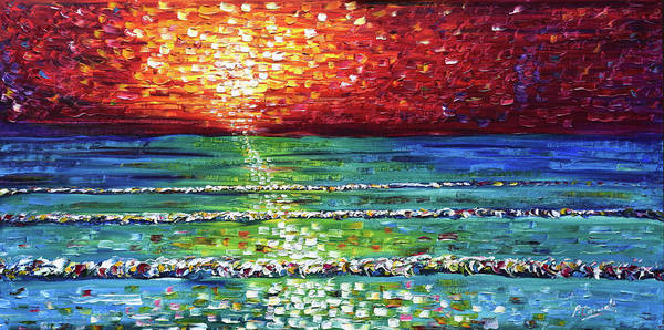 Painting - Opal Blue Sunset by Pete Caswell
