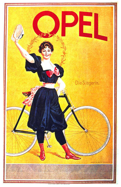 Wall Art - Mixed Media - Opel Cycles - Bicycle - Vintage Advertising Poster by Studio Grafiikka