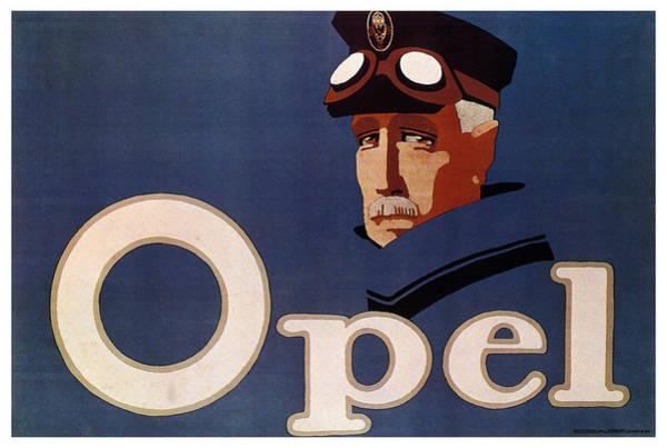 Automobile Mixed Media - Opel - German Automobile Manufacturer - Vintage Automotive Advertising Poster - Minimal, Blue by Studio Grafiikka