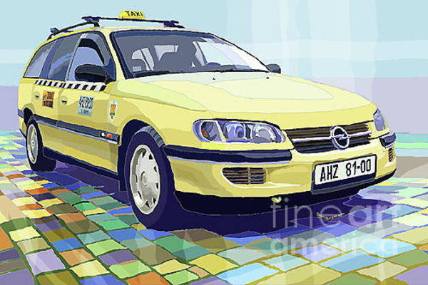 Wall Art - Digital Art - Opel Omega A Caravan Prague Taxi by Yuriy Shevchuk