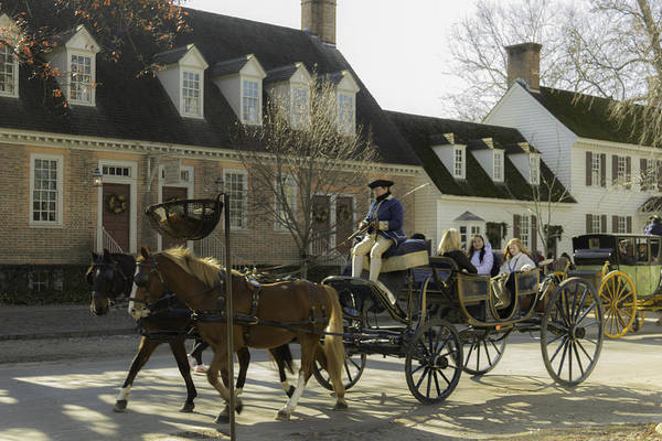 Royal Colony Photograph - Open Carriage Ride In Colonial Williamsburg Virginia by Teresa Mucha