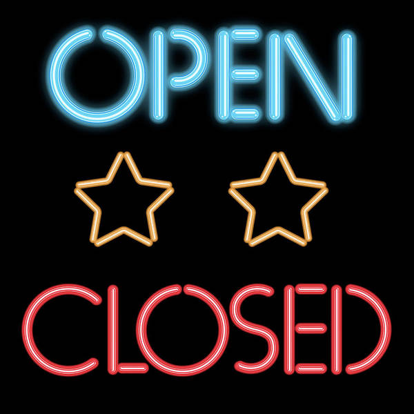Neon Lights Mixed Media - Open Closed by Gina Dsgn