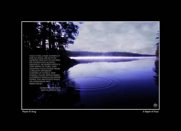 Photograph - Open Edition Ripple Of Hope Poster - Titled by Wayne King