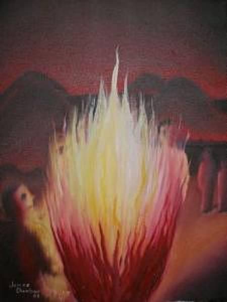 Wall Art - Painting - Open Fire by Dunbar's Modern Art