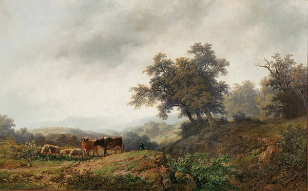 Ditch Painting - Open Landscape With Cows And Herdsman by Remigius Adrianus Haanen