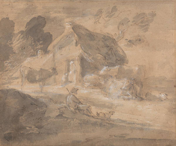 Painting - Open Landscape With Figures Cows And Cottage by Thomas Gainsborough
