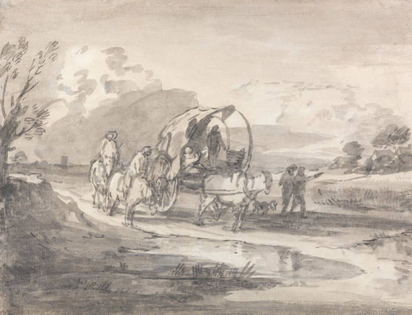 Drawing - Open Landscape With Horsemen And Covered Cart by Thomas Gainsborough