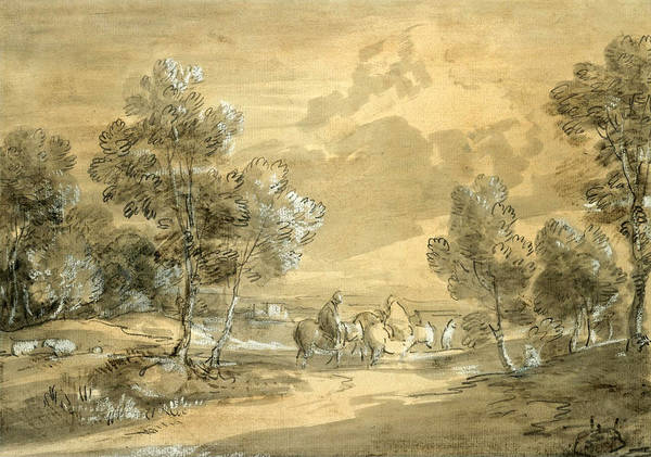 Thomas Gainsborough Wall Art - Drawing - Open Landscape With Travellers On A Road by Thomas Gainsborough