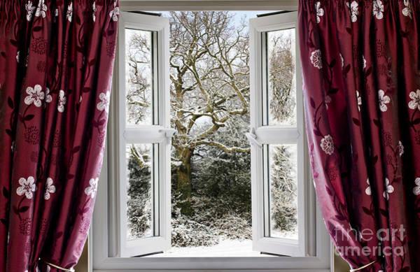 Window Dressing Wall Art - Photograph - Open Window With Winter Scene by Simon Bratt Photography LRPS