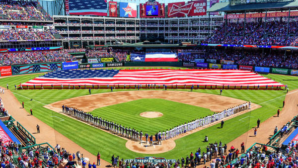Star-spangled Banner Wall Art - Photograph - Opening Day At Globe Life Park by Stephen Stookey