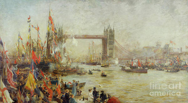 Wall Art - Painting - Opening Of Tower Bridge by William Lionel Wyllie