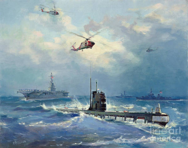 Helicopter Painting - Operation Kama by Valentin Alexandrovich Pechatin