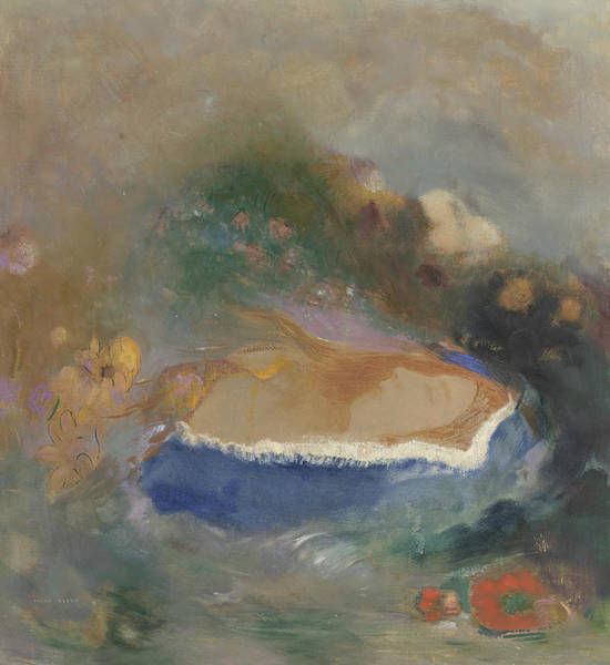 Painting - Ophelie, The Blue Cape On The Waters by Odilon Redon