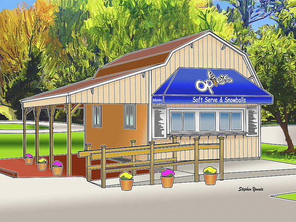 Serve Digital Art - Opie's Snowball Stand by Stephen Younts