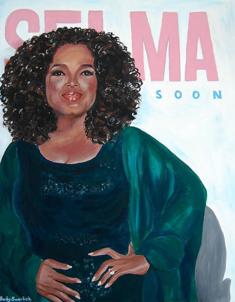 Wall Art - Painting - Oprah Winfrey At New York Premiere Of Selma by Judy Swerlick