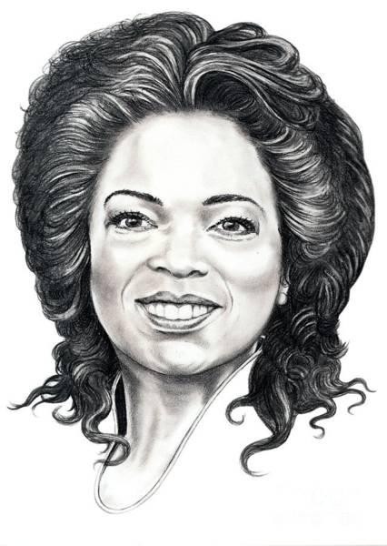 Oprah Wall Art - Drawing - Oprah Winfrey  by Murphy Elliott