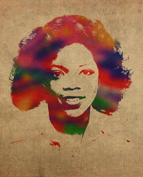 Oprah Wall Art - Mixed Media - Oprah Winfrey Vintage 1978 Watercolor Portrait by Design Turnpike