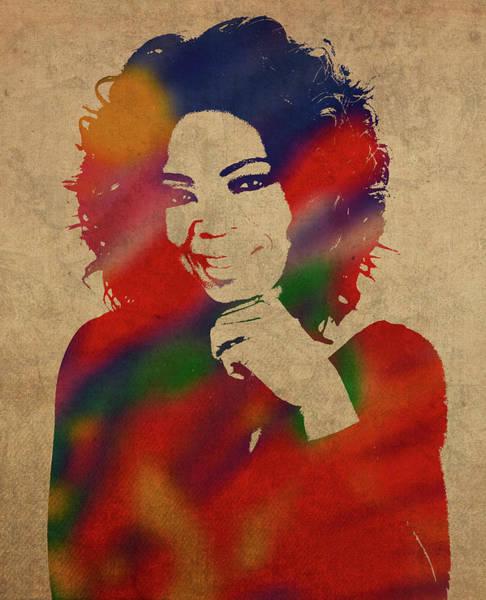Oprah Wall Art - Mixed Media - Oprah Winfrey Watercolor Portrait by Design Turnpike