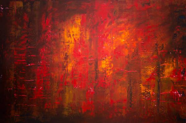 Wall Art - Painting - Opt.47.15 Forest Fire by Derek Kaplan