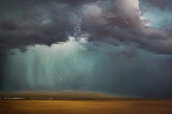 Wall Art - Painting - Opt.61.16 Storm by Derek Kaplan