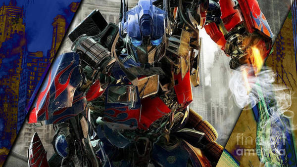 Super Hero Mixed Media - Optimus Prime Transformers Collection by Marvin Blaine
