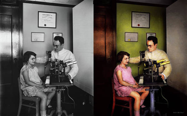 Photograph - Optometrist - The Eye Exam 1929 - Side By Side by Mike Savad