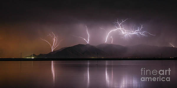 Photograph - Oquirrh Lightning by Spencer Baugh