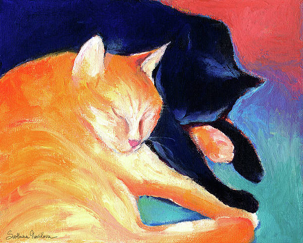 Orange And Black Tabby Cats Sleeping Art Print