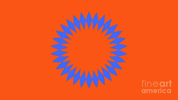 Cyan Digital Art - Orange And Blue Abstract Circle Landscape by Drawspots Illustrations