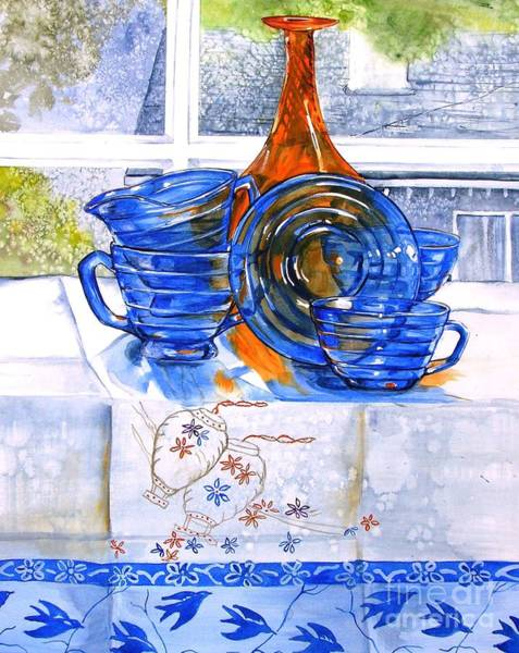 Painting - Orange And Blue Glass by Jane Loveall