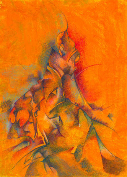 Abstract People Painting - Orange And Green by Bodhi