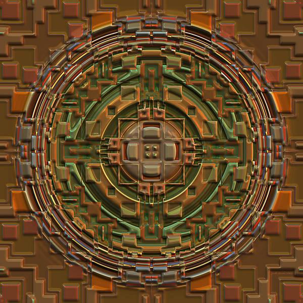 Digital Art - Orange And Green Mandala by Judi Suni Hall
