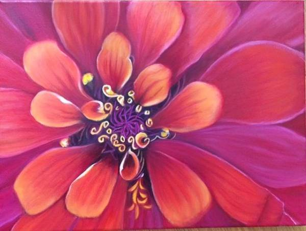 Painting - Orange And Purple Dalhia by Jeannette Tramontano