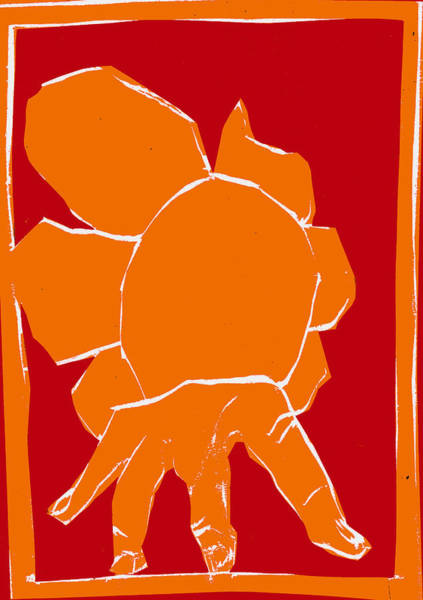 Digital Art - Orange And Red Series - Hand And Flower by Artist Dot