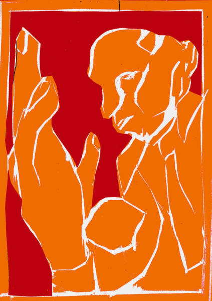 Digital Art - Orange And Red Series - Man And Hand by Artist Dot