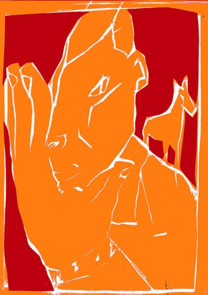 Digital Art - Orange And Red Series - Man Leaves Horse by Artist Dot