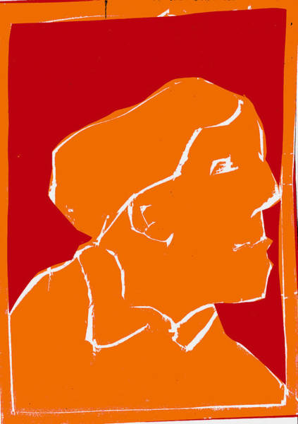 Digital Art - Orange And Red Series - Passing Woman by Artist Dot