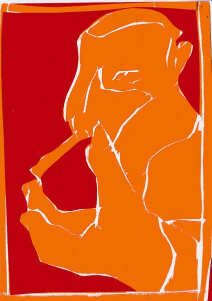 Digital Art - Orange And Red Series - Smoker Smoking At Hand by Artist Dot