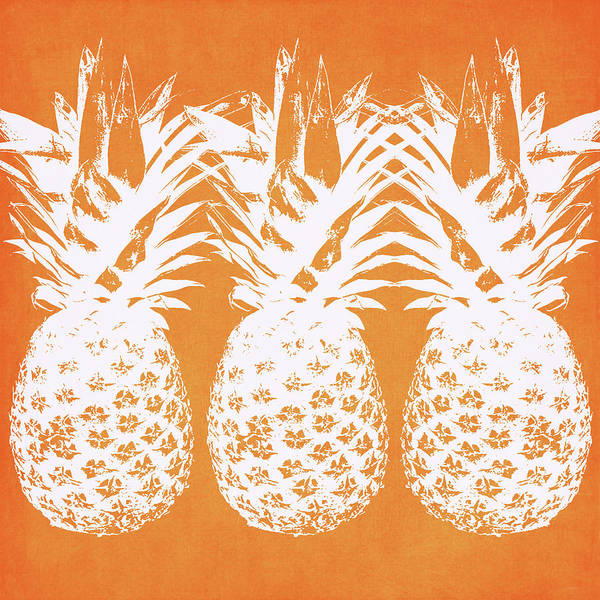 Wall Art - Painting - Orange And White Pineapples- Art By Linda Woods by Linda Woods