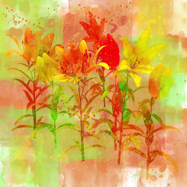 Digital Art - Orange And Yellow Lilies by Judi Suni Hall