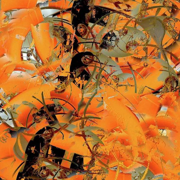 Digital Art - Orange Arcs by Paulette B Wright