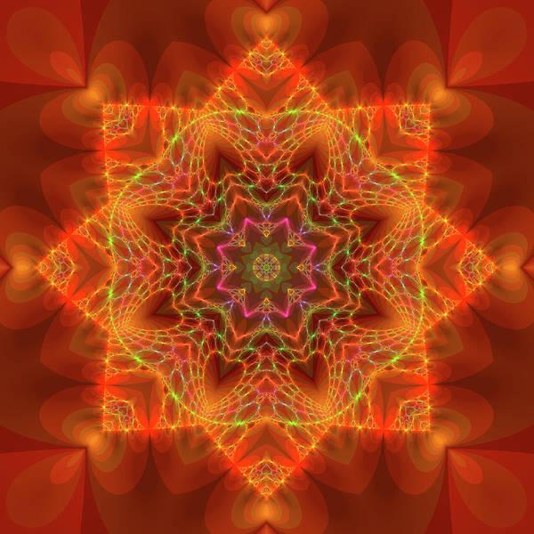 Digital Art - Orange Autumn Mandala by Judi Suni Hall